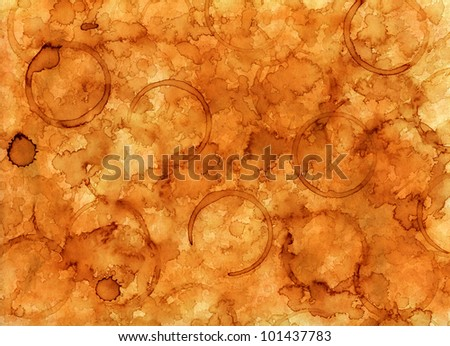 Coffee stained background texture - stock photo