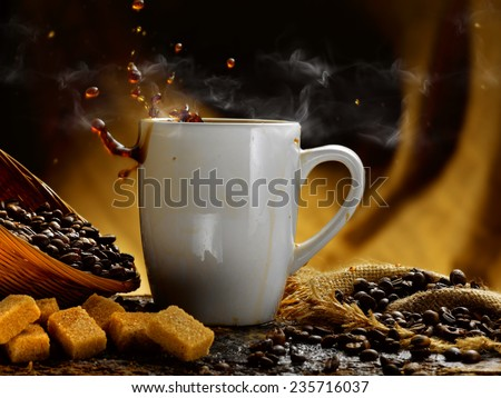 coffee steaming hot - stock photo
