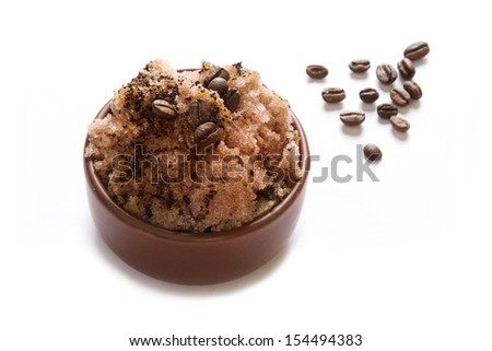 Coffee sugar piling, on white background - stock photo