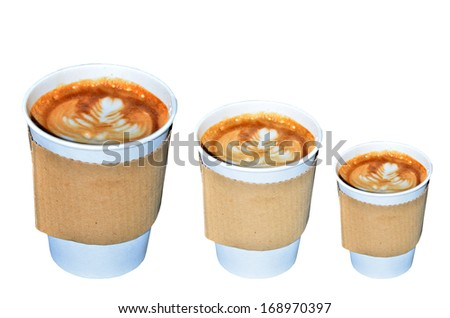 Coffee takeaway cups in three size on white background - stock photo
