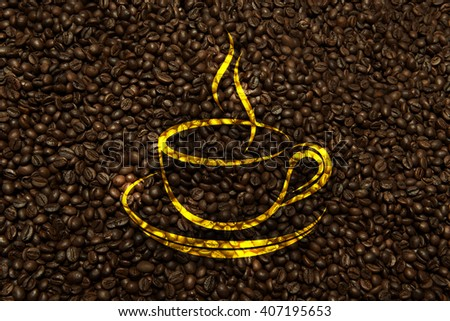 coffee texture with cup sign - stock photo
