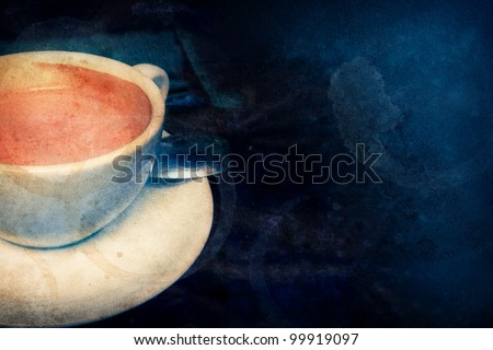 Coffee-themed dark grunge background - stock photo