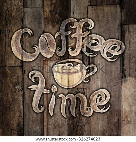 coffee time lettering decorated with romb pattern on grunge background - stock photo