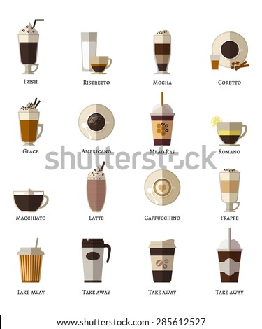 Coffee types flat icons set. Latte romano frappe glace take away correta mocha irish ristretto americano cappuccino espresso - stock photo