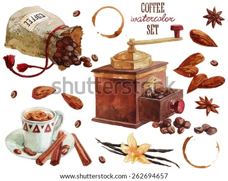 Coffee watercolor collection over white - stock photo