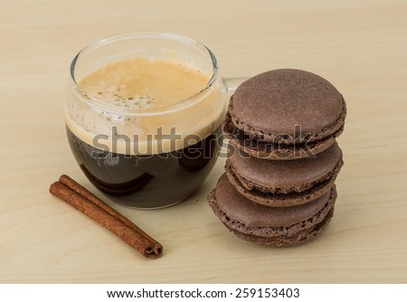 Coffee with chocolate macaroons - famous Franch delicous cookies - stock photo