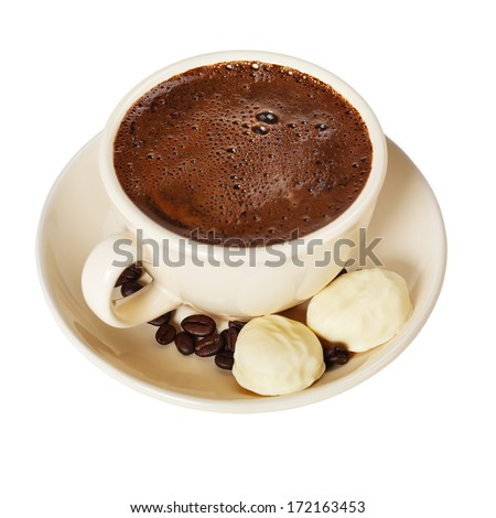 coffee with chocolates  on a white background - stock photo