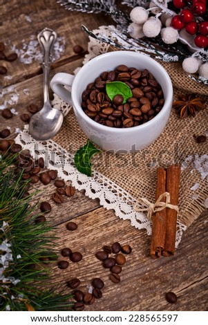 coffee with christmas decoration - stock photo