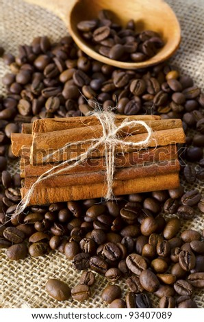coffee with cinnamon - stock photo