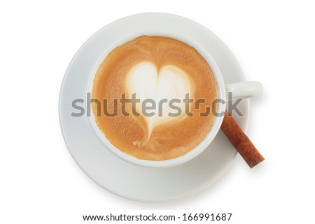 coffee with cinnamon stick isolated on white. - stock photo