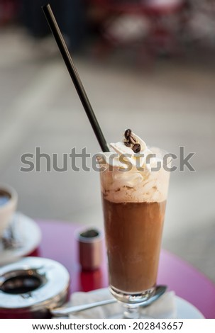 Coffee with ice-cream and cream - stock photo