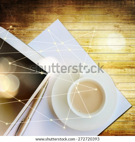 Coffee with tablet pc - stock photo