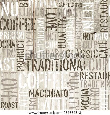 Coffee words on the wooden background. Raster version - stock photo