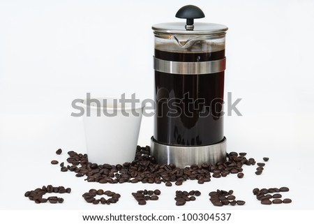 Coffee written with beans, and French press with take out paper cup on white - stock photo