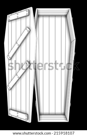 coffin. isolated on black background. 3d illustration - stock photo