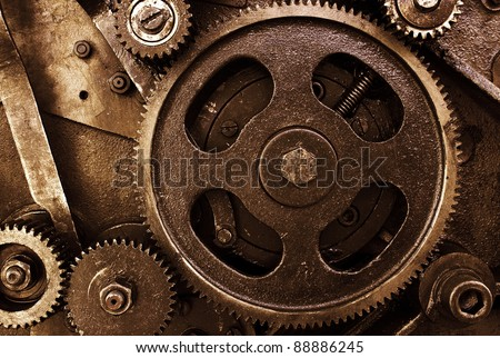 Cog and wheel details from machines - stock photo