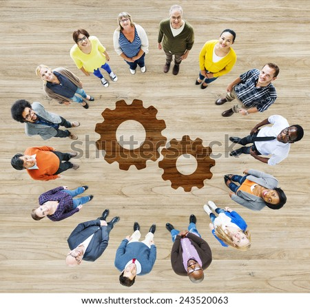 Cog Gear Business Support Cooperation Collaboration Aerial View Concept - stock photo