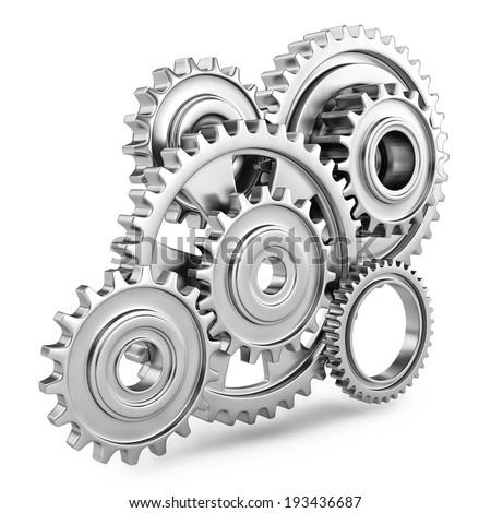 Cog gears mechanism concept. 3d - stock photo