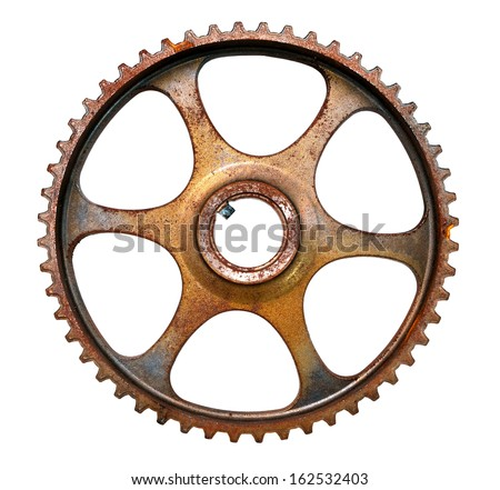 Cog wheel, mechanical gear isolated on white background - stock photo
