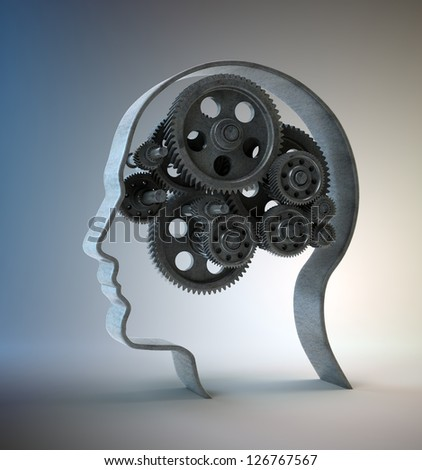 Cog wheels and gear inside a head shape -psychology and creativity concept illustration - stock photo