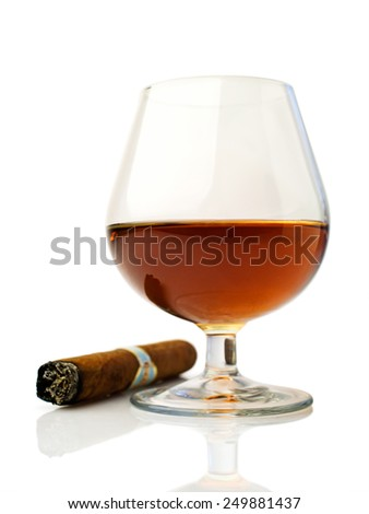 cognac and cigar over white - stock photo