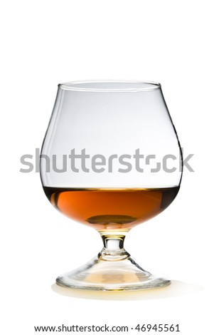 Cognac and Glass Snifter on White with Clipping Path Included. - stock photo