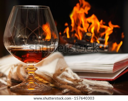 Cognac, book and shawl by the fireplace - stock photo