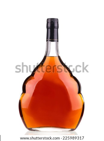 Cognac bottle on white background. Isolated on a white background. - stock photo