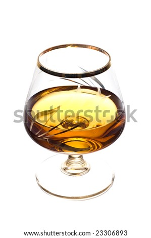 Cognac glass isolated on white background. Glass with alcohol. - stock photo