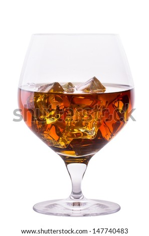Cognac or brandy isolated on white background - stock photo