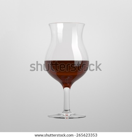 Cognac tulip glass isolated on white background - stock photo