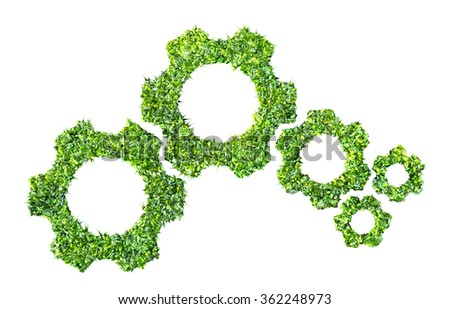 cogs or gears from green grass 3D rendering - stock photo