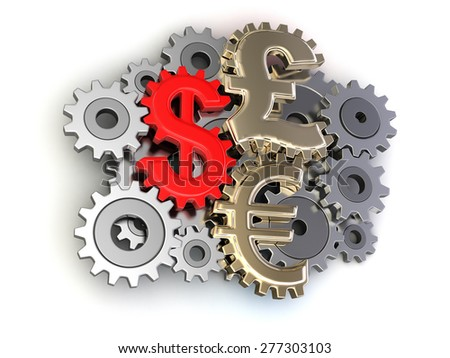 Cogwheel Currencies - stock photo