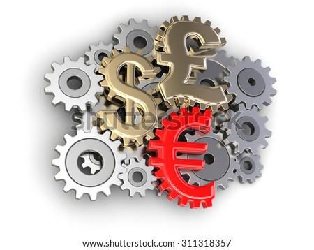 Cogwheel Currencies (clipping path included) - stock photo