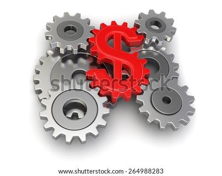 Cogwheel dollar - stock photo