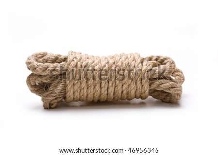 coil of hemp rope isolated on a white background - stock photo