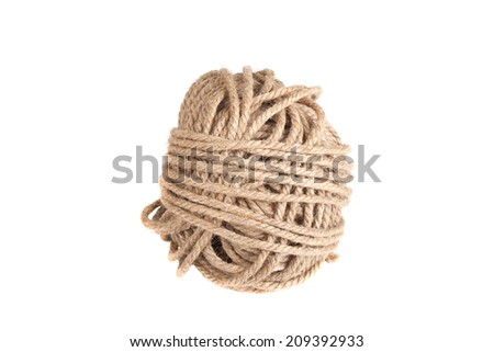 coil of rope isolated on a white background - stock photo