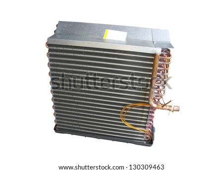 Coil or evaporator part of central air conditioner front view; isolated on white background - stock photo