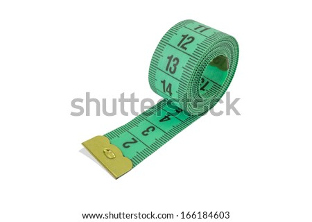 Coiled green tape measure with lucky number isolated on white background - stock photo