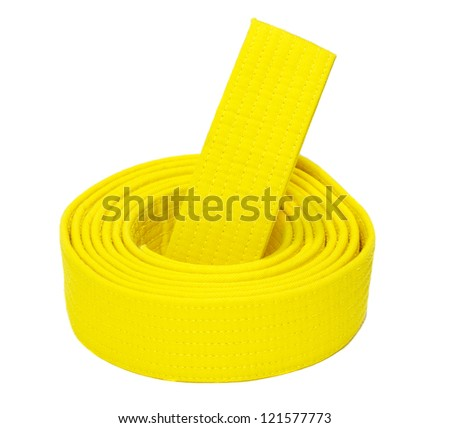Coiled karate yellow belt isolated on white background - stock photo