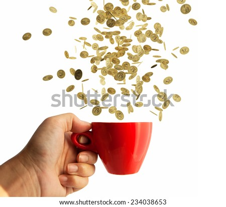 coin falling in red cup,  Financial concept  - stock photo