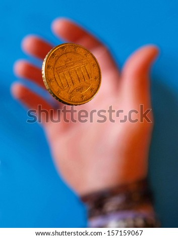 Coin. Fifty euro cents thrown into the air.  - stock photo
