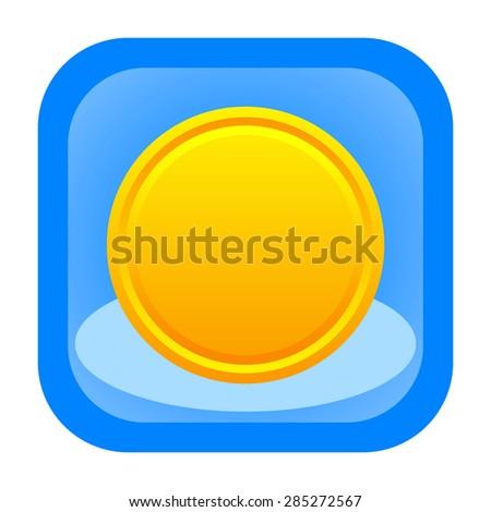 Coin icon - stock photo