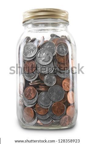 Coin Jar Isolated - stock photo