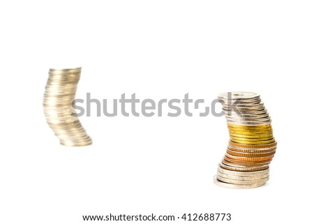 coin money curve  on the isolated - stock photo