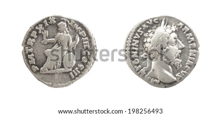 Coin Old silver Roman denarius, 161-180,   M(arcvs)ANTONINVS AVG(ustus) TR(ibunicia) P(otestas) XXIII LIBERAL(itas) AVG(ustus) V CO(n)S(ul) III - stock photo