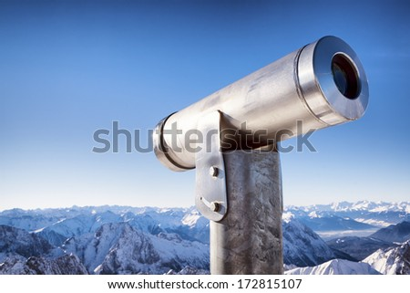 coin operated binoculars at a observation point - european alps - stock photo