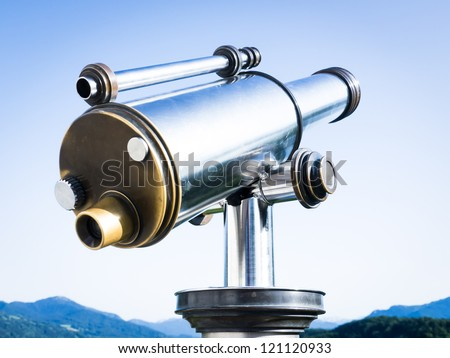 coin operated binoculars at a observation point near vienna - stock photo