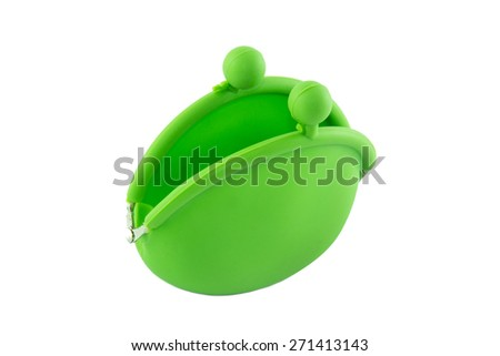 Coin Purse with clasp isolated on white background - stock photo