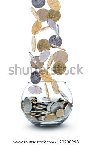 Coin rain isolated on white background - stock photo